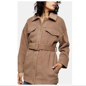 TOPSHOP Clara Women's Snap Button Belted Shacket in Mink Beige Wool Blend